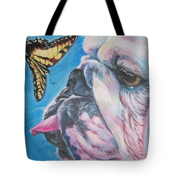 Bulldog And Butterfly Tote Bag