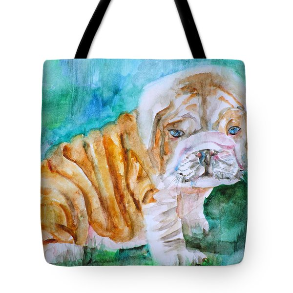 Tote Bag featuring the painting Bulldog Cub  - Watercolor Portrait by Fabrizio Cassetta