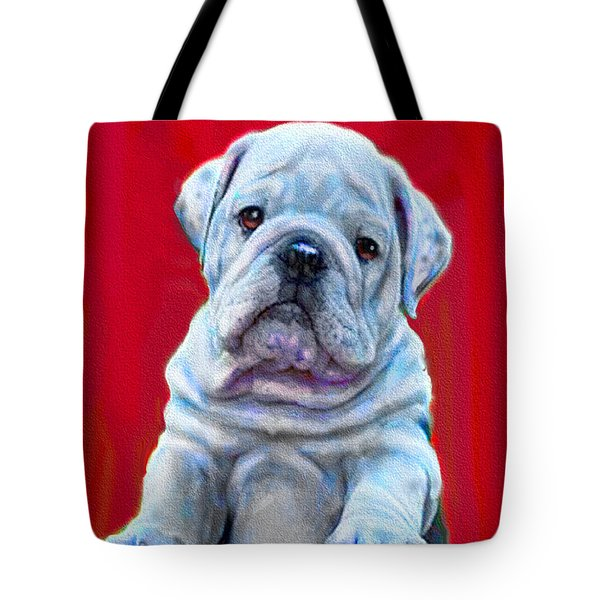 Bulldog Puppy On Red Tote Bag by Jane Schnetlage
