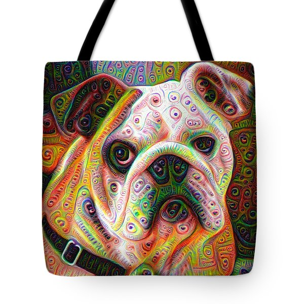 Bulldog Surreal Deep Dream Image Tote Bag