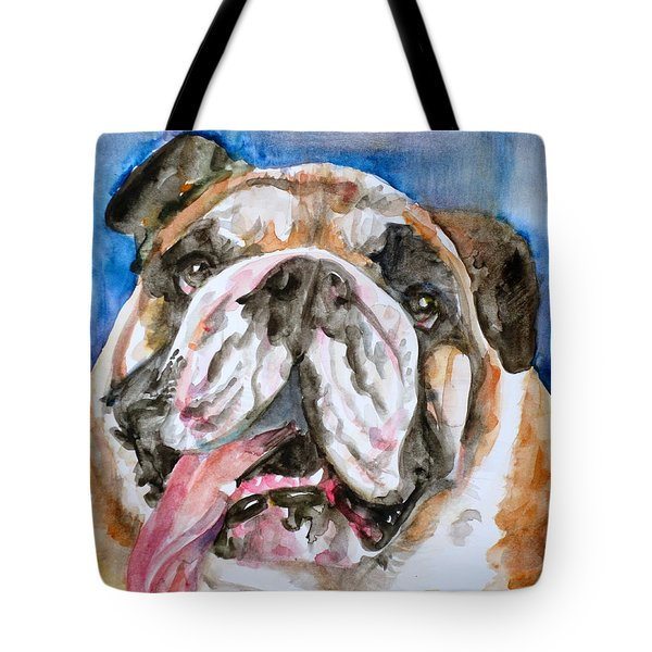 Tote Bag featuring the painting Bulldog - Watercolor Portrait.3 by Fabrizio Cassetta