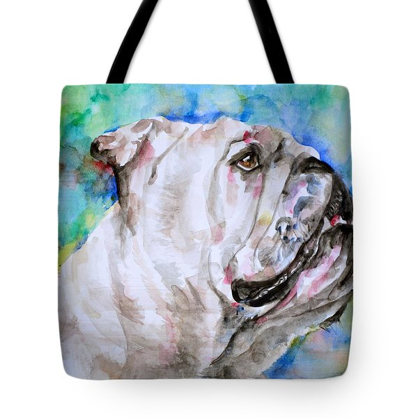 Tote Bag featuring the painting Bulldog - Watercolor Portrait.4 by Fabrizio Cassetta