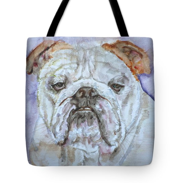 Tote Bag featuring the painting Bulldog - Watercolor Portrait.5 by Fabrizio Cassetta