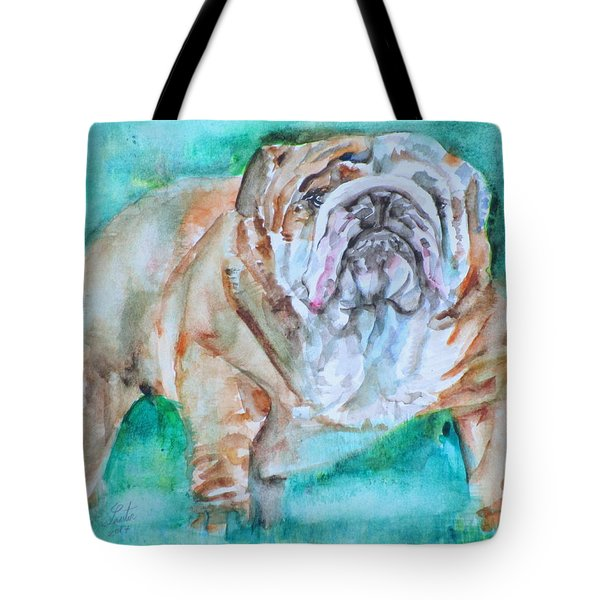 Tote Bag featuring the painting Bulldog - Watercolor Portrait.6 by Fabrizio Cassetta