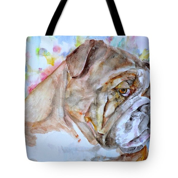 Tote Bag featuring the painting Bulldog - Watercolor Portrait.7 by Fabrizio Cassetta