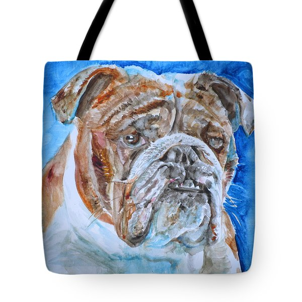 Tote Bag featuring the painting Bulldog - Watercolor Portrait.8 by Fabrizio Cassetta