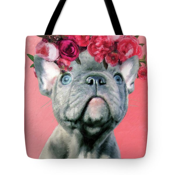 Bulldog With Flowers Tote Bag