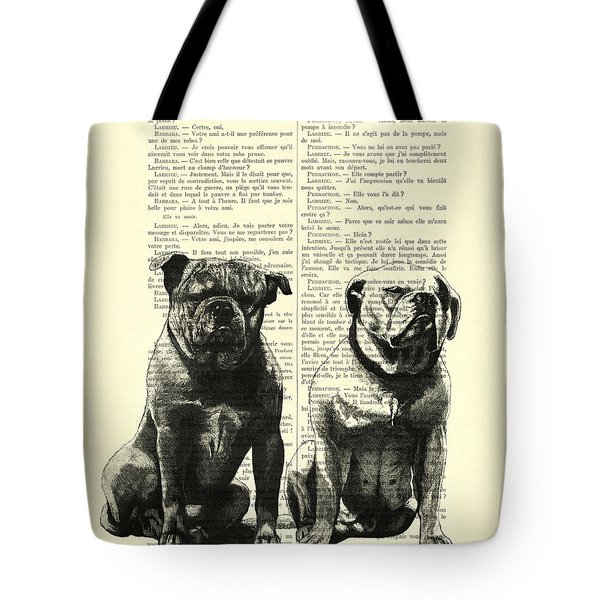 Bulldogs, Two Dogs Sitting Black And White Vintage Illustration Tote Bag