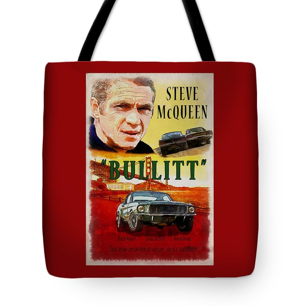 Tote Bag featuring the painting Bullitt Poster by Kai Saarto
