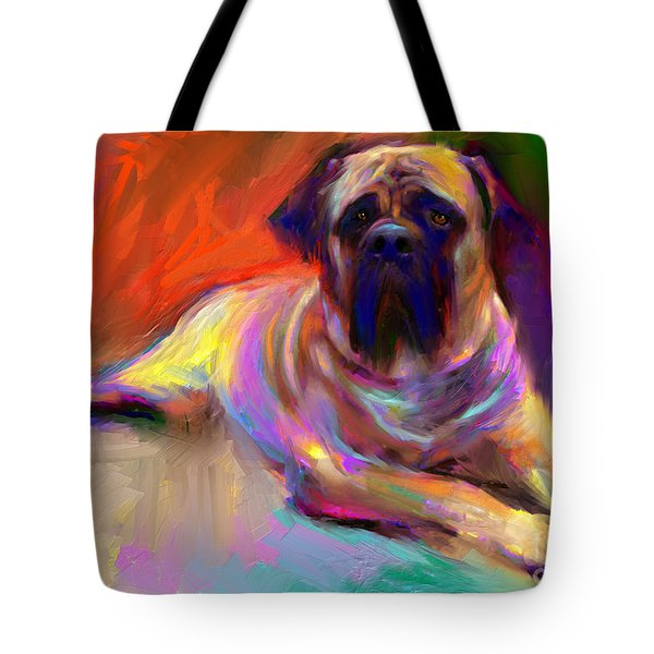 Bullmastiff Dog Painting Tote Bag