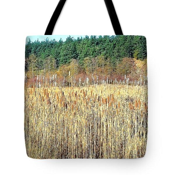 Bullrushes In Late November Tote Bag by Tobeimean Peter
