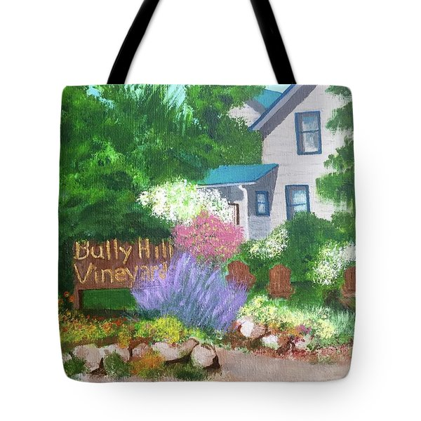 Tote Bag featuring the painting Bully Hill Vineyard by Cynthia Morgan