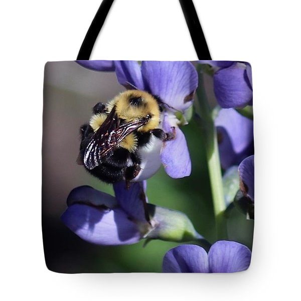 Bumble Bee, Blue Indigo Tote Bag