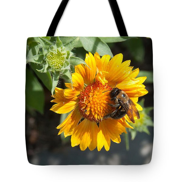 Bumble Bee Collecting Pollen On Sunflower Tote Bag
