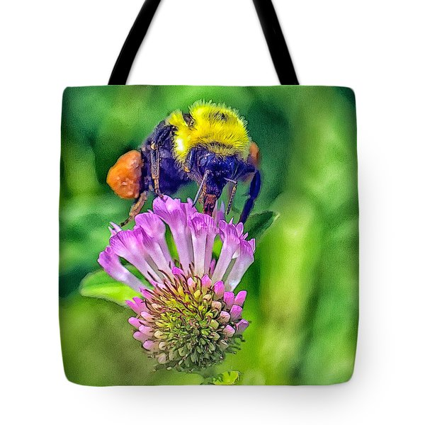 Tote Bag featuring the photograph Bumble Bee On Clover by Constantine Gregory