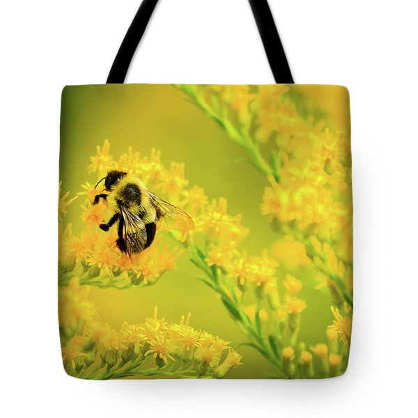 Bumble Bee On Goldenrod Tote Bag