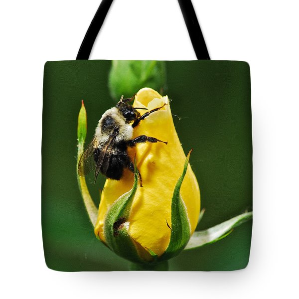 Bumble Bee On Rose  Tote Bag by Michael Peychich