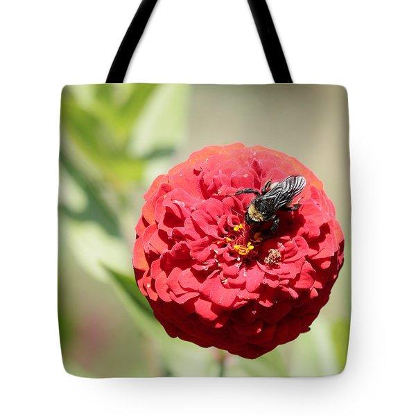 Bumble Bee On Zinnia Tote Bag
