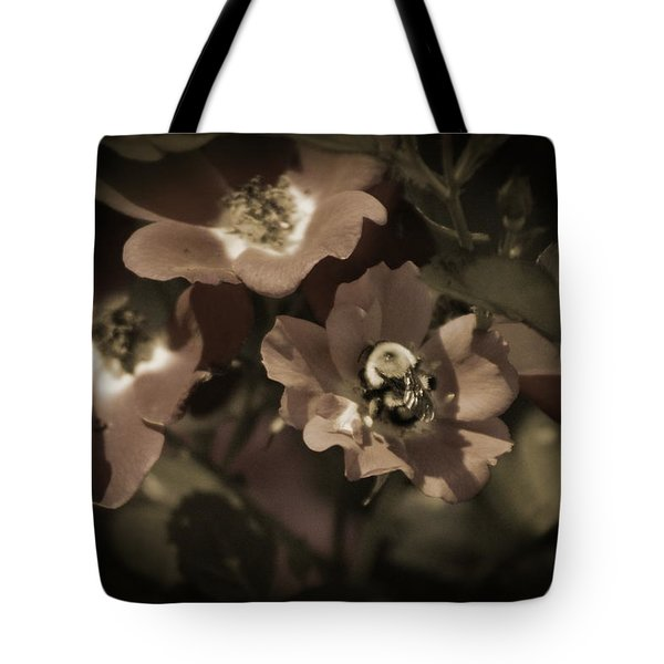 Bumblebee On Blush Country Rose In Sepia Tones Tote Bag