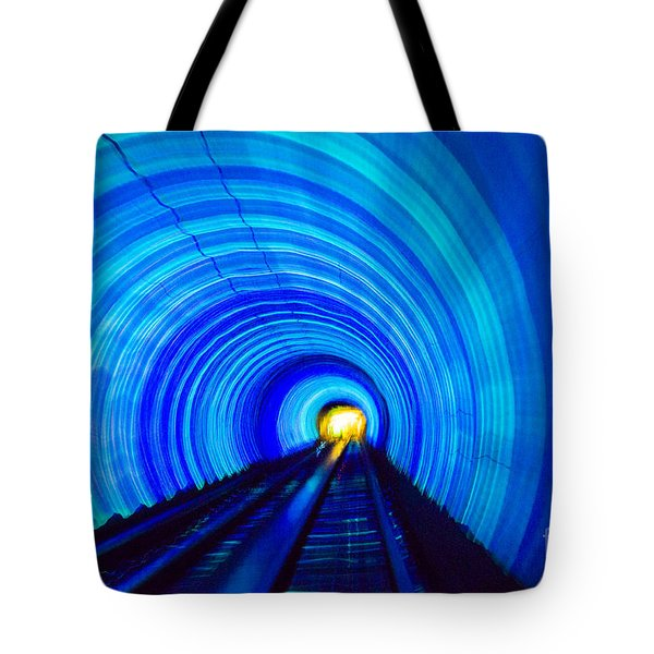 Tote Bag featuring the photograph Bund Tunnel Lights by Angela DeFrias