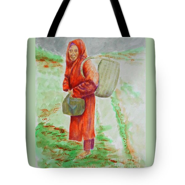 Bundled And Barefoot -- Portrait Of Old Asian Woman Outdoors Tote Bag