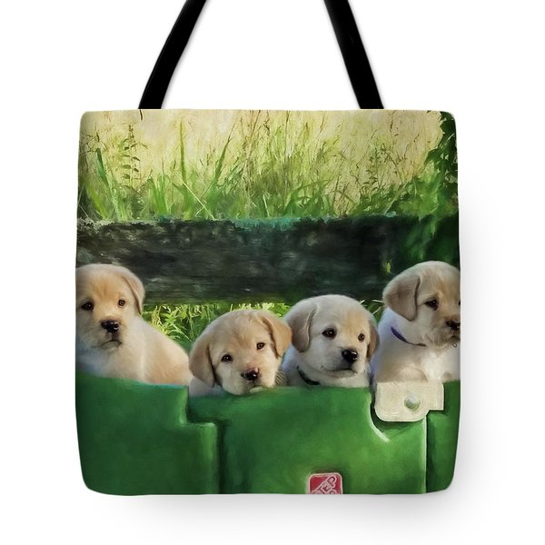 Bundles Of Joy - Labrador Art Tote Bag