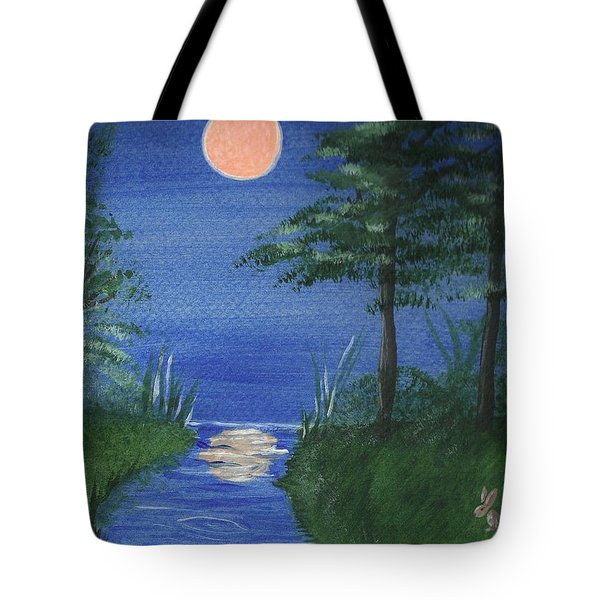 Bunnies In The Garden At Midnight Tote Bag