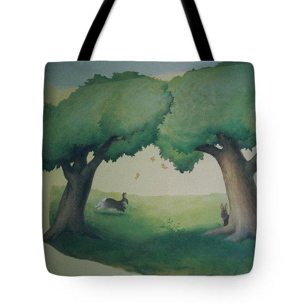 Bunnies Running Under Trees Tote Bag