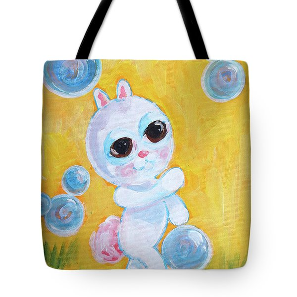 Bunny And The Bubbles Painting For Children Tote Bag