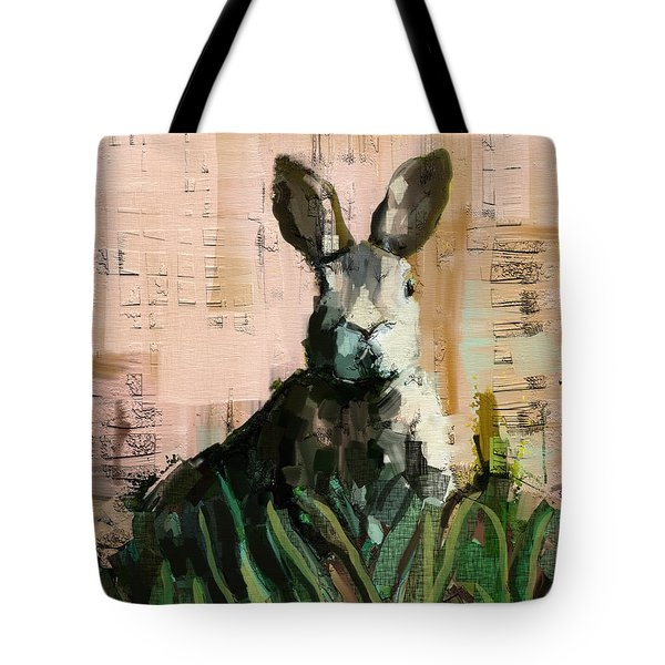 Tote Bag featuring the mixed media Bunny by Carrie Joy Byrnes