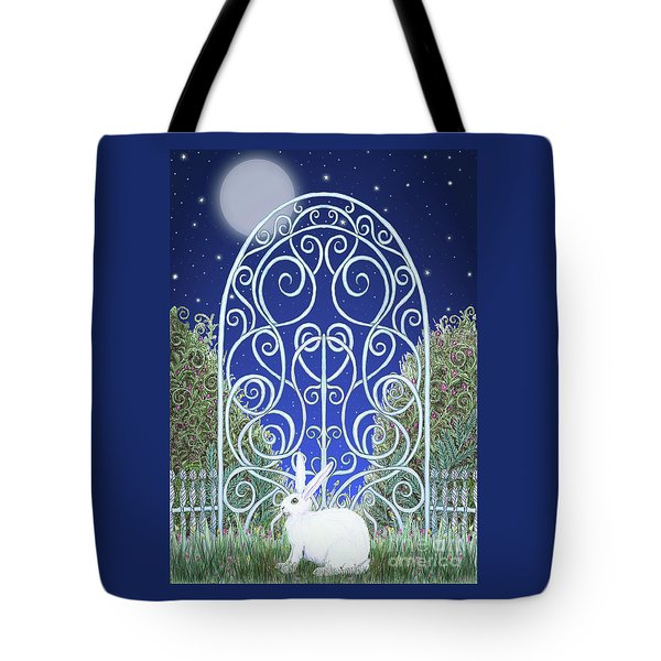 Tote Bag featuring the mixed media Bunny, Gate And Moon by Lise Winne