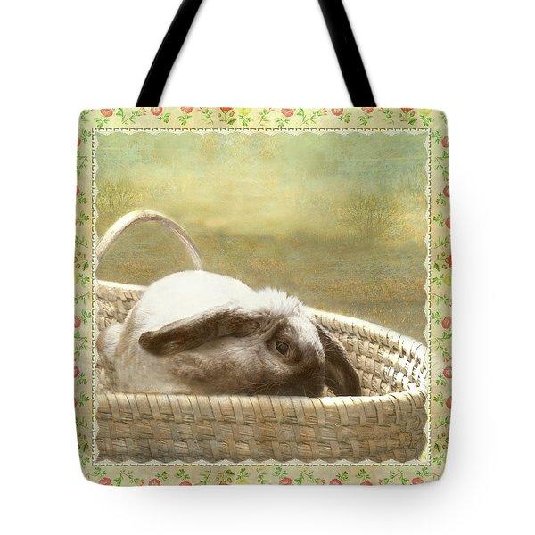 Bunny In Easter Basket Tote Bag