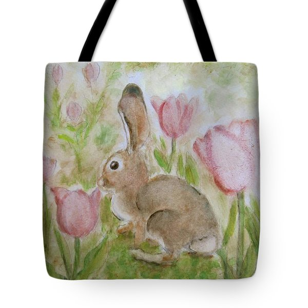 Bunny In The Tulips Tote Bag