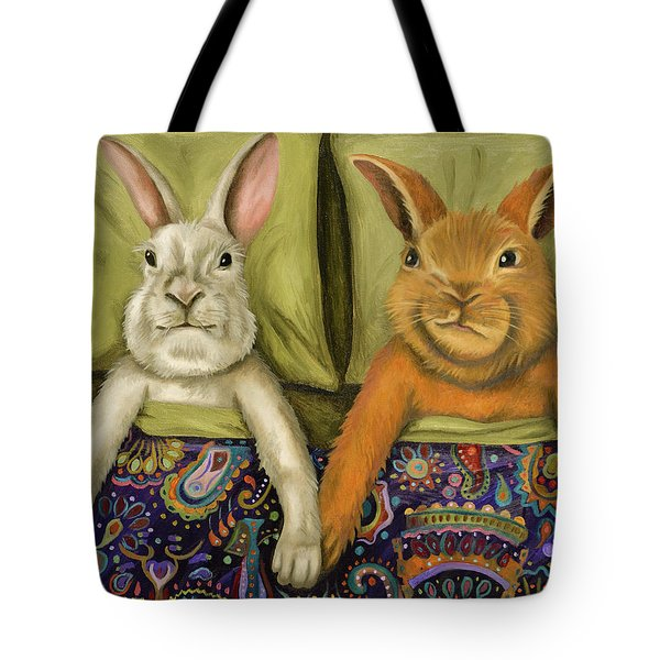 Bunny Love Tote Bag by Leah Saulnier The Painting Maniac