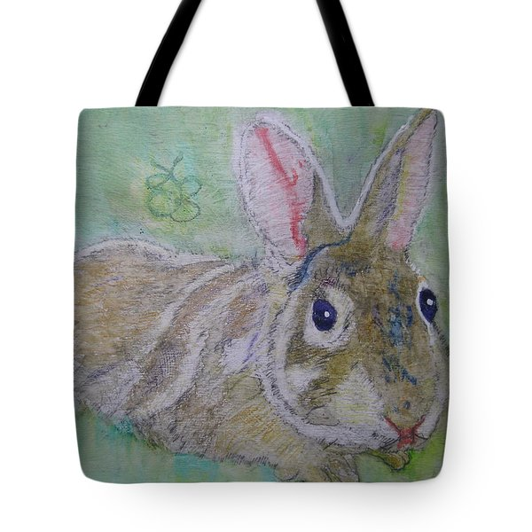 Tote Bag featuring the drawing bunny named Rocket by AJ Brown