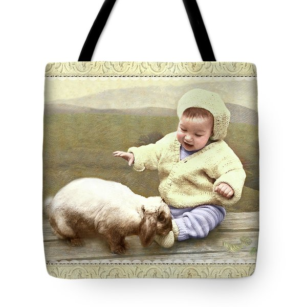 Bunny Nuzzles Baby's Toes Tote Bag