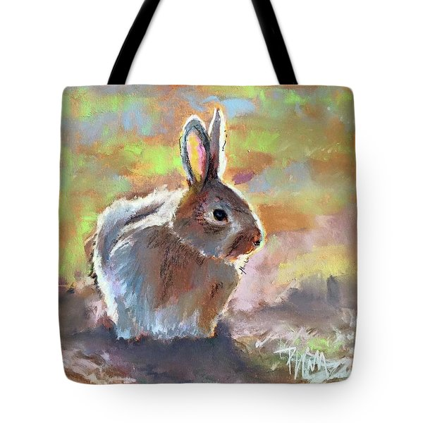 Tote Bag featuring the pastel Bunny by Pattie Wall