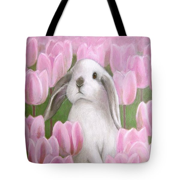 Bunny With Tulips Tote Bag