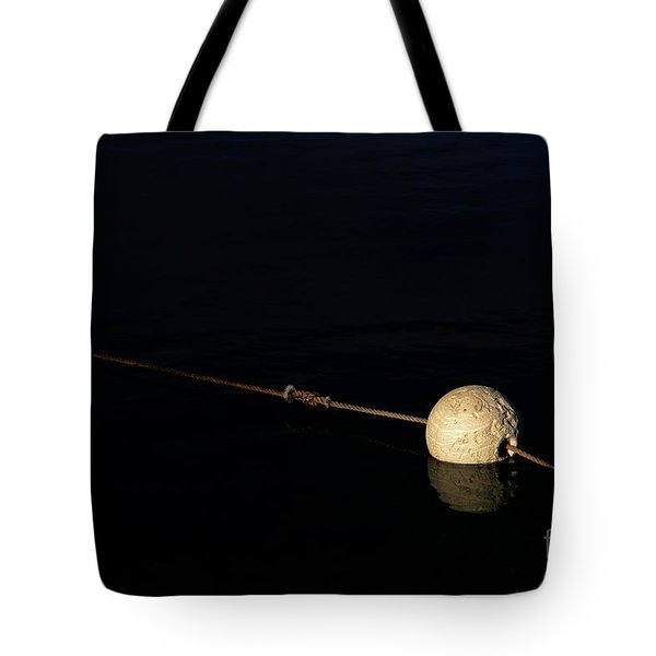 Tote Bag featuring the photograph Buoy At Night by Stephen Mitchell