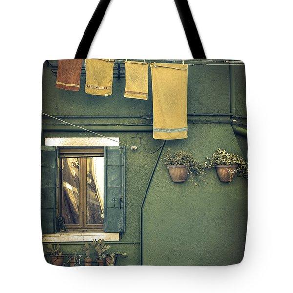 Burano - Green House Tote Bag