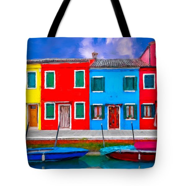 Tote Bag featuring the photograph Burano Colorful Houses by Juan Carlos Ferro Duque