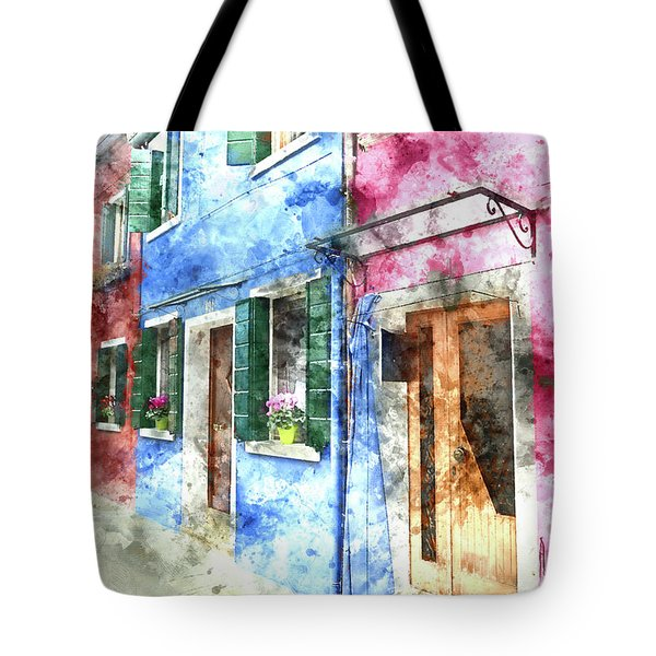 Burano Italy Buildings Tote Bag