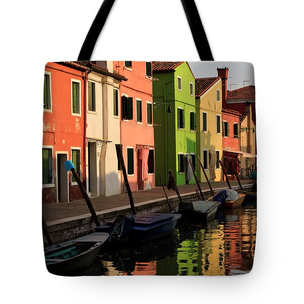 Tote Bag featuring the photograph Burano Reflections by Dennis Hedberg