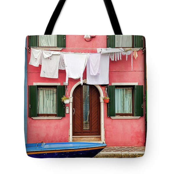 Tote Bag featuring the photograph Burano Street by Andrew Soundarajan