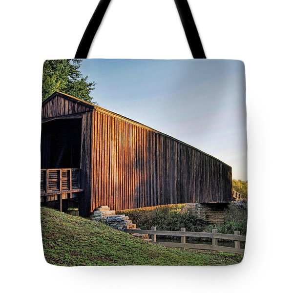 Tote Bag featuring the photograph Burfordville Covered Bridge by Cricket Hackmann