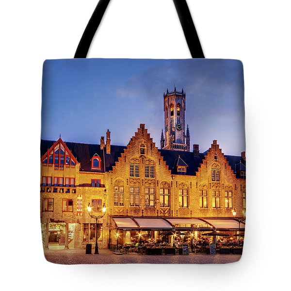 Burg Square Architecture At Night - Bruges Tote Bag