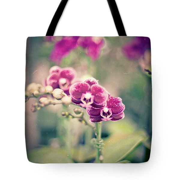Tote Bag featuring the photograph Burgundy Orchids by Ana V Ramirez