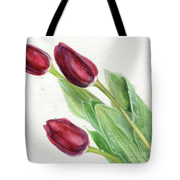 Burgundy Tulips Tote Bag