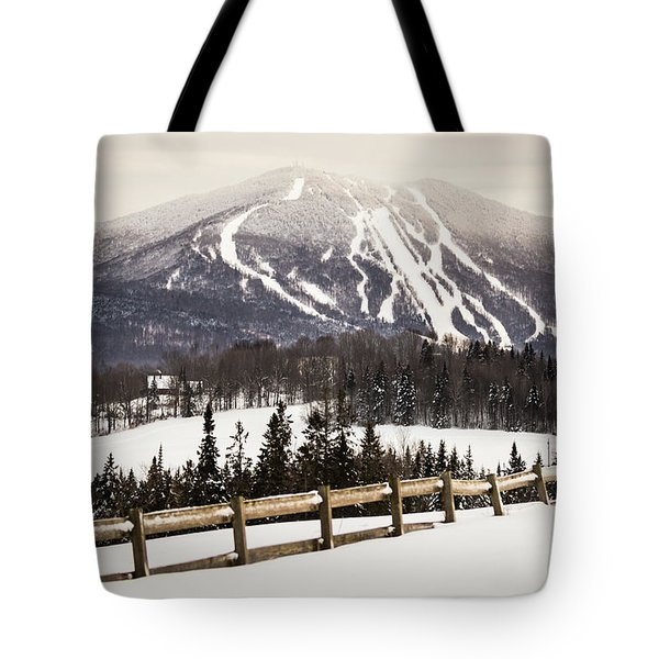 Burke Mountain And Fence Tote Bag
