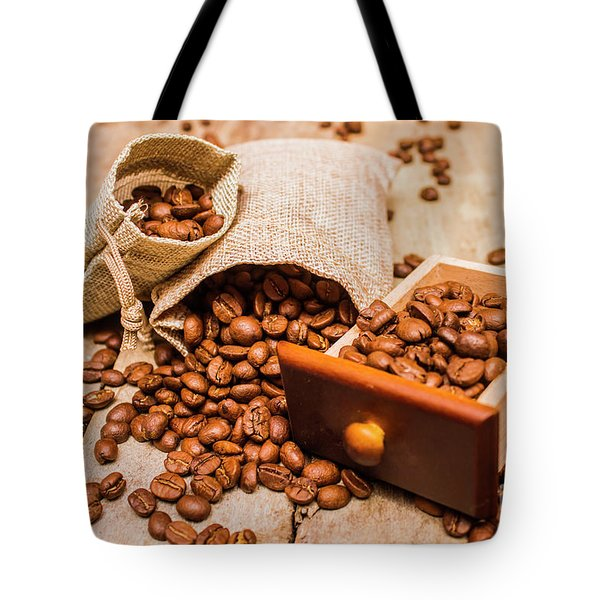 Burlap Bag Of Coffee Beans And Drawer Tote Bag